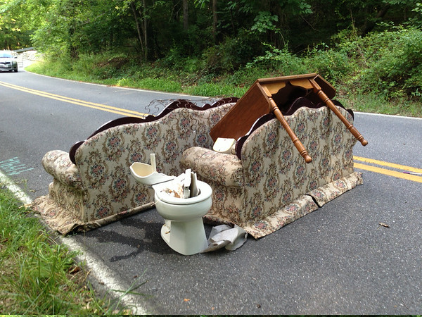 7/6/14: Jon Merryman's cleanup  on Race Road - Park Circle side, A.A. County, Deep Run subwatershed. Found a sofa and a loveseat (65 lbs), toilet (30 lbs), and a table (30 lbs). 125 lbs total.