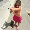 Daddy caught a flounder for Kate...released to swim again