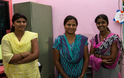 A few of the teachers at the Zilha Parishad Primary School in Sanaswadi.
