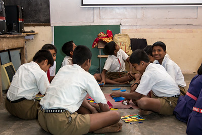 Children learning math skills at the Education Support Center in Darekarwadi.