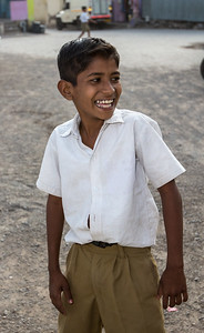 A boy playing at the Zilha Parishad Primary School in Sanaswadi.