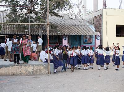 Chilren playing at the Zilha Parishad Primary School in Sanaswadi.