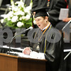 Danielle Guerra - dguerra@shawmedia.com<br /> DeKalb graduate Evan Guest, the student commencement speaker, talks to 383 members of his class about writing their own stories during the graduation ceremony at NIU Convention Center on Saturday, June 7, 2014.