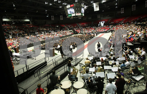 Danielle Guerra - dguerra@shawmedia.com<br /> The 384 graduates of DeKalb High School and their friends and families fill the NIU Convention Center in DeKalb on Saturday, June 7, 2014.