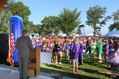 Walk to End Alzheimer's event emcee State Rep Matt Muratore, welcomes the 3,500 walkers gathered at Pilgrim Memorial State Park last Saturday morning.