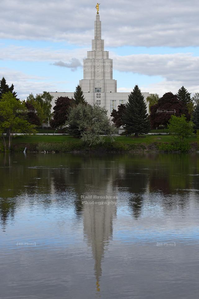 Idaho Falls Idaho Temple across the Snake River