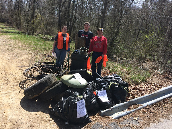 4/12/15 HCC Student Ashley Huber with her father and boyfriend, stream near Athol Ave Elkridge MD,  Bascom Creek (Deep Run)Howard County Dept of Parks and Rec, found a teddy bear, rolling trash can, large sheet of metal, two panels of siding, tennis shoes, metal turtle sculpture, many tires, plastic planters, deer skull, license plate, tons of soda cans and bottles.  Estimated weight 400 pounds.