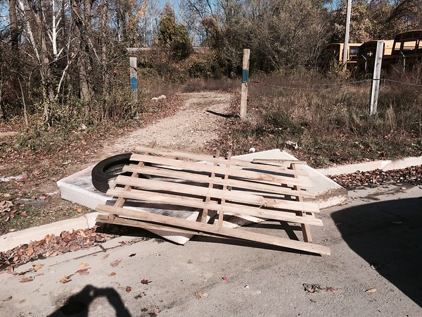 "11.8.2015, Jon Merryman, Patapsco River Watershed at Hollins Ferry Rd in Baltimore Co, found "" A bed, a tire, and a pallet.""  Estimated weight 175 pounds."