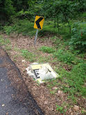 6/26/2015, Melissa Gaigler, Bonnie Branch, Ellicott City, Howard County, along River Road, collected trash and piled it up for pick up.  Estimated weight 25 pounds.
