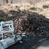 11.16.2015, Jon Merryman, Baltimore County, Patapsco Watershed, Hilltop Road, near old foundation heading up the hill. Plastic piping, Venetian blinds, truckload of yard waste. Estimated weight of piping and blinds is 25 pounds.