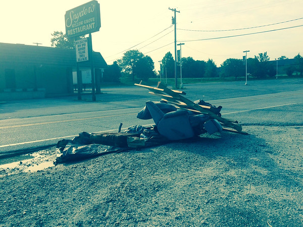 8/19/2015, Jon Merryman, Patapsco Watershed, Anne Arundel County, Hammonds Ferry Rd near Snyder's, Furniture, scrap metal, pallets, bags of trash, illegal signs, truckloads of asphalt and gravel. All adjacent to the former Snyders restaurant location.  Estimated weight 145 pounds.