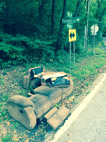 9.14.2015, Jon Merryman, Stoney Run Watershed in AA county at the corner of Ridge Rd and Furnace Ave, found a recliner sofa that he dragged to the side of the road for pick up.  Estimated weight is 200 pounds.