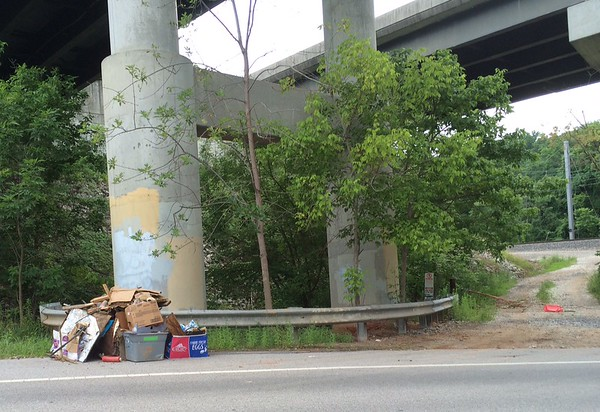 6/27/2015, Jon Merryman,Stoney Run Watershed, A.A. county,  Furnace Av near the intersection with Old Elkridge Landing, under 195, collected trash estimating 150 pounds.