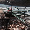 11/16/2015, Jon Merryman,  Balto. County Thistle Branch  stream (a small stream that runs parallel to Thistle Road in Catonsville) found aluminum frames and a wheel barrel .  Picture 1 of 2, All this junk was tossed over the guardrail down the hill toward Thistle Run in Catonsville/Oella. Estimated weight is 100 pounds.