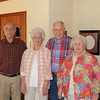 Hilda's 90th b-day : With younger sister Cloyce {age 88}, and younger brothers Charlie Jay and Buddy : July 25, 2015