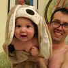 Apollo in his new hoody towel with dog ears.  Thanks Prof Pierre!
