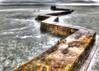 The zig-zag breakwater at St Monans Harbour on Sunday 21st February 2016