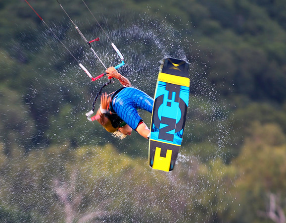 2016 F-One Trax HRD Carbon Kiteboard Action Fly