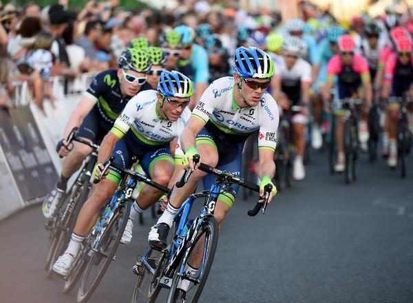 Michael Hepburn drags the peloton across for Orica-Green Edge…