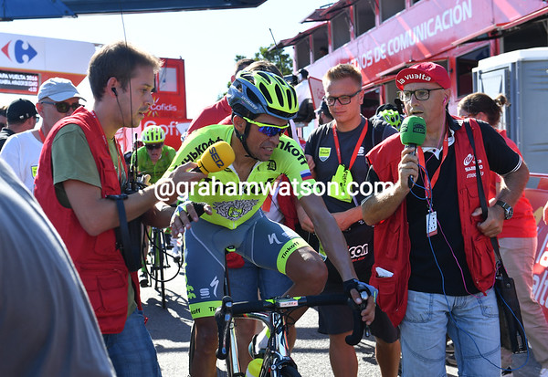 Alberto Contador finishes too, but he's lost another 30-seconds to his main rivals, Froome and Quintana...