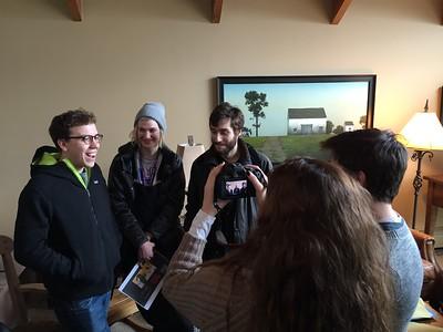 "Director Ben Petrie (far left) discusses ""Her Friend Adam."""