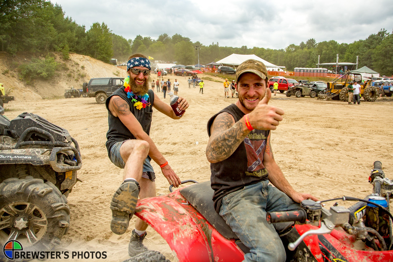 "Gunth Giacobbe of Templeton, Massachusetts (left) and Zack Wojdak of Gardiner Massachusetts, arrive at the venue on their ATV. Of the Redneck Olympics gathering, Giaccobi exclaims, ""This place is mint."""