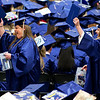 ORONO, Maine -- 05/13/2017 - Graduates hold up their diplomas in celebration during the University of Maine's 215th Commencement at Alfond Arena in Orono Saturday. More than 1,900 students, including 34 doctoral degree candidates, were expected to participate in the two commencement ceremonies. Ashley L. Conti | BDN