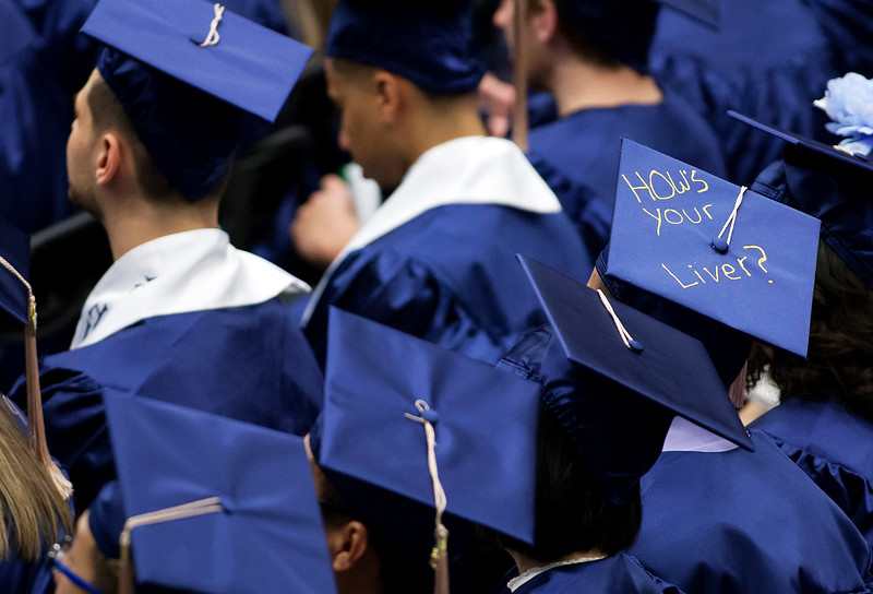 ORONO, Maine -- 05/13/2017 - Graduates listen to speakers during the University of Maine's 215th Commencement at Alfond Arena in Orono Saturday. More than 1,900 students, including 34 doctoral degree candidates, were expected to participate in the two commencement ceremonies. Ashley L. Conti | BDN