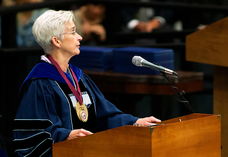 ORONO, Maine -- 05/13/2017 - University of Maine president Susan J. Hunter speaks during the University of Maine's 215th Commencement at Alfond Arena in Orono Saturday. More than 1,900 students, including 34 doctoral degree candidates, were expected to participate in the two commencement ceremonies. Ashley L. Conti | BDN