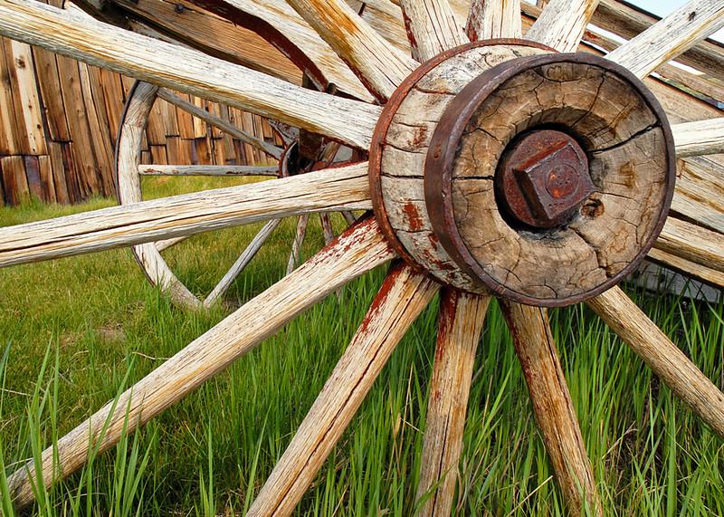 Wagon Wheel in Grass, Bodie, CA