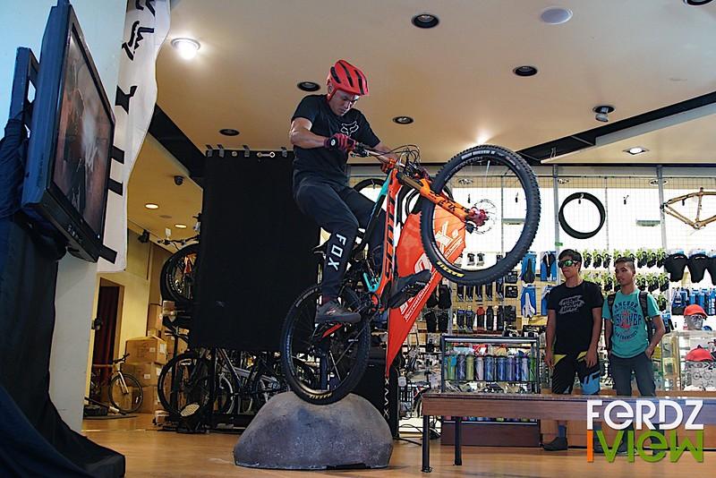 Indoor mountain bike stunts