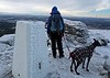 Shonagh and Emmy at the summit of frosty Ben Rinnes on Wednesday 5th December