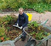 Anthony clearing the dying geraniums at Fyvie Castle Gardens.