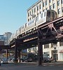 "The ""EL"" elevated suburban railway in Chicago."