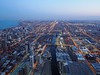 Evening creeps in over South Chicago from the Willis Tower