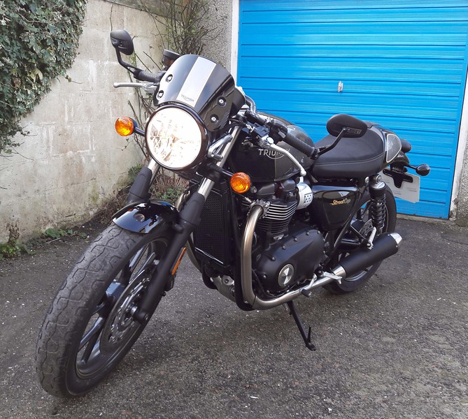 Brand new Triumph Street Cup motorbike after a rather chilly first run on 1st March 2019