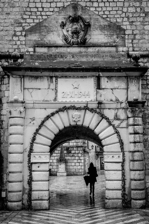 Woman in the Gates of Kotor, Montenegro