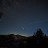 Stars and Perseid Meteor Shower viewed from Crater Lake. Two falling stars can be seen in this shot.