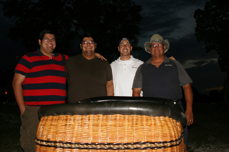 Brothers, Enrique Jasso, Jr and Louie Jasso join KC Boeckman and their father, Enrique Jasso, Sr. of Ferrellgas as first volunteer balloon chase crew at the 20th Annual Lake Travis Flight sponsored by the Central Texas Ballooning Association (CTBA).