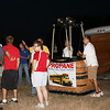 Volunteer crew and pilots gather for weather briefing before sunrise on Saturday, August 7, 2010 for the 20th Annual Lake Travis Flight. A total of ten balloons participated in the event.
