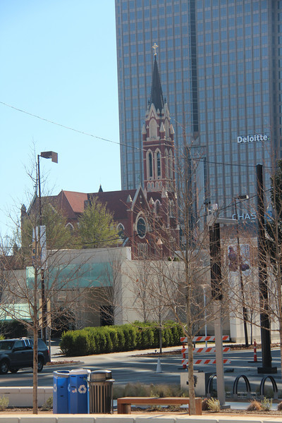 In the midst of modern Downtown Dallas is this beautiful church.  This photograph was taken on Sunday morning.  The church bells rang at Noon and were beautiful.