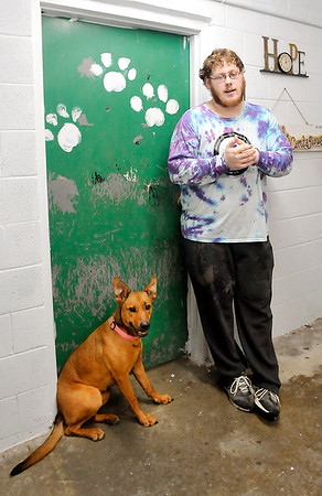 John P. Cleary | The Herald Bulletin<br /> Ellie sits by Madison County Humane Society employee Cameron Moore as he spends time in the kennel area where she stays. Ellie suffers from separation anxiety and wants to be around peolpe.