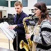 Don Knight | The Herald Bulletin<br /> Band Director Richard Geisler instructs Hailey Short as she rehearses for ISSMA.
