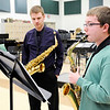 "Don Knight | The Herald Bulletin<br /> Band Director Richard Geisler listens as Logan Knight performs ""Episode"" as he prepares for the state solo and ensemble contest."