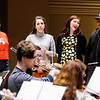 "Don Knight | The Herald Bulletin<br /> From left, Sarah Arnold, Kathryn Hochstetler, Clare Lillig and Bobbi Baranek rehears work together for the first time on the baby grand opera, ""Meanwhile Back at Cinderella's."""