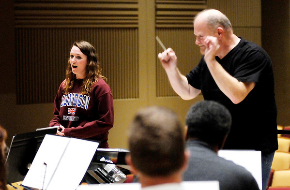 "Don Knight | The Herald Bulletin<br /> Melissa Denney performs for the first time with the orchestra for Anderson University's production of ""Meanwhile Back at Cinderella's"" in York Performance Hall."