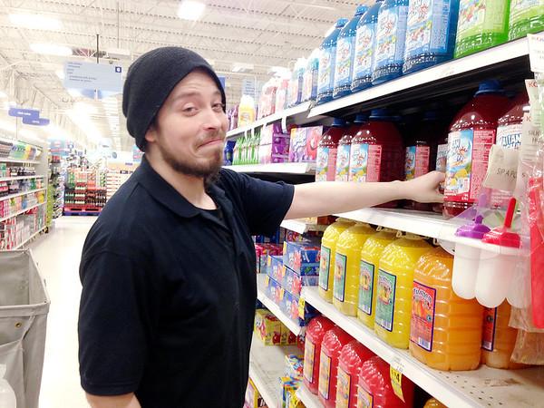 Dean Wilson stocks juice at Meijer.