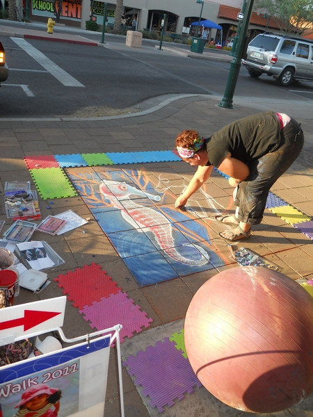 Next time, I hope to participate in sidewalk talk drawing.  I think Mesa could use a zombie portrait on their sidewalk!