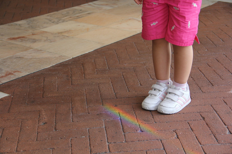 Day 29:  Light, my daughter discovers the end of a rainbow, so she thinks...