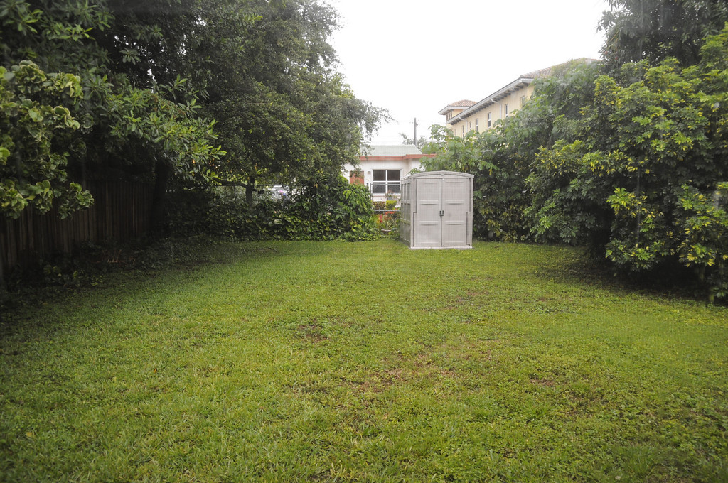 fenced in back yard with shed.   lawn and trash included.   alarm system as well.  view from Florida room.